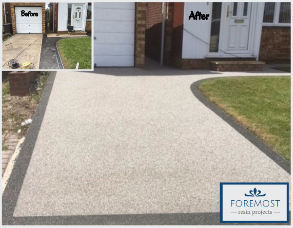 Before & After Shot of Resin Drive in Sawbridgeworth